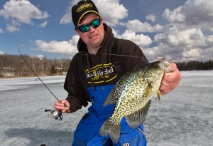 Fishing late ice crappie